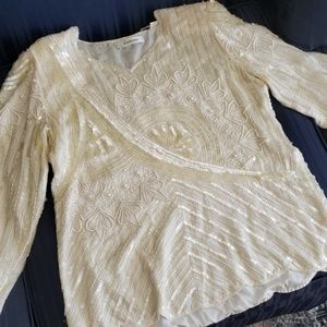 ❗SALE❗Vintage beaded & pearl blouse! Iridescent